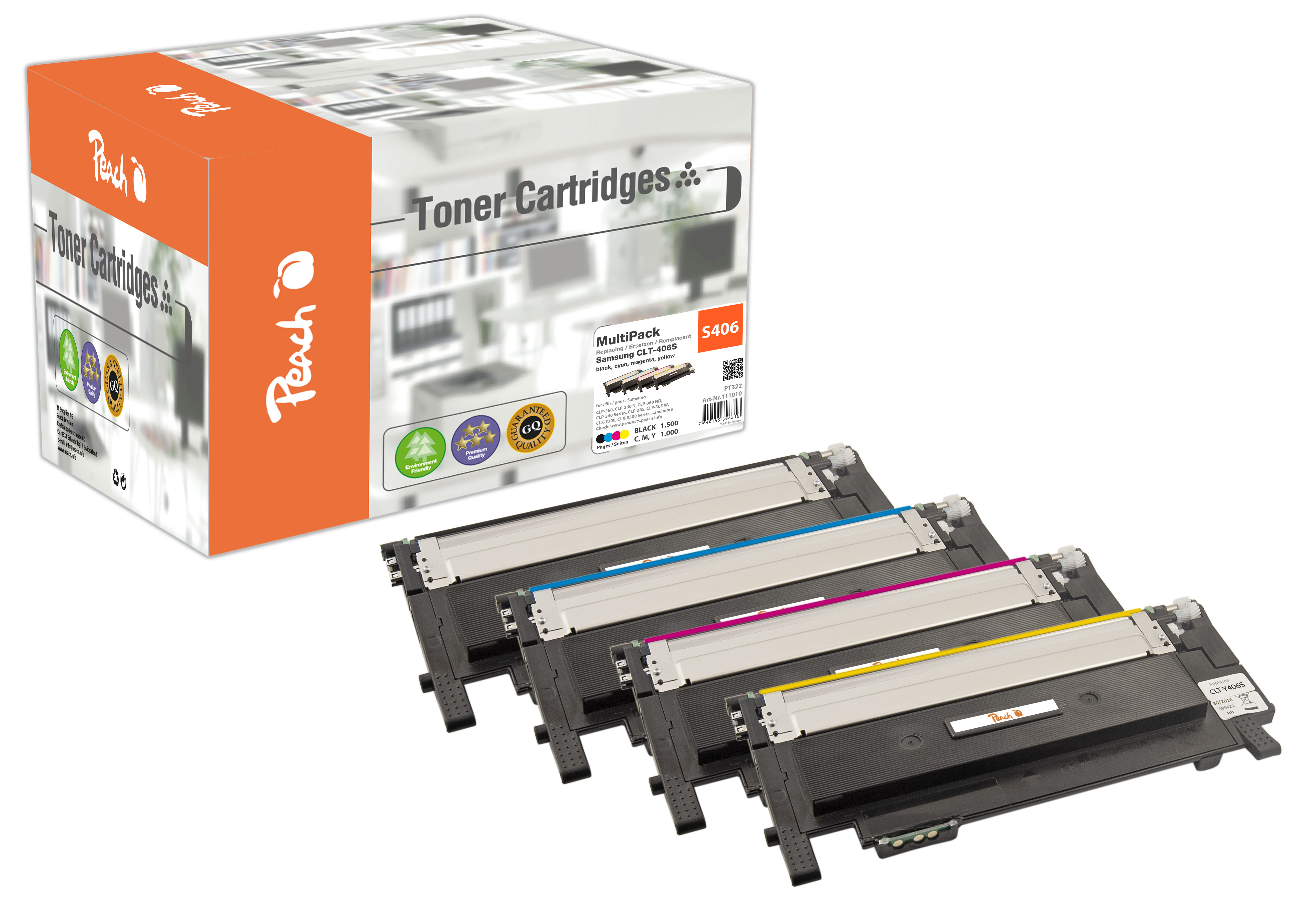 Peach  Spar Pack Tonermodule kompatibel zu Hersteller-ID: CLT-406S-series