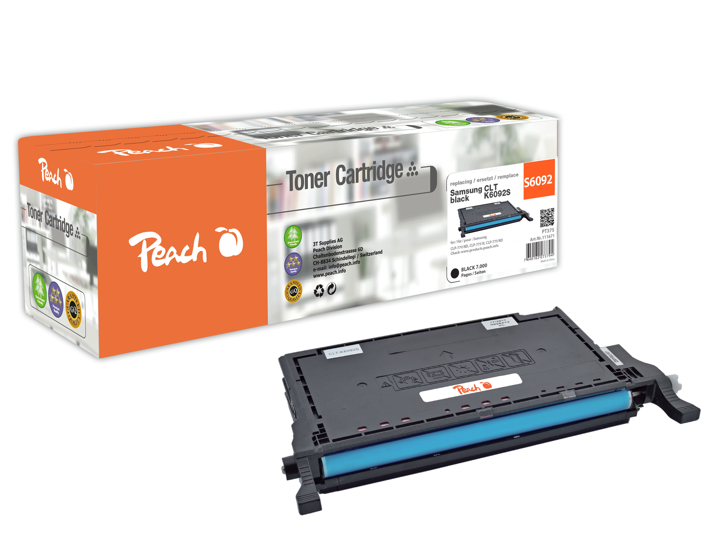 Peach  Tonermodul schwarz kompatibel zu Hersteller-ID: CLT-K6092S Tinte