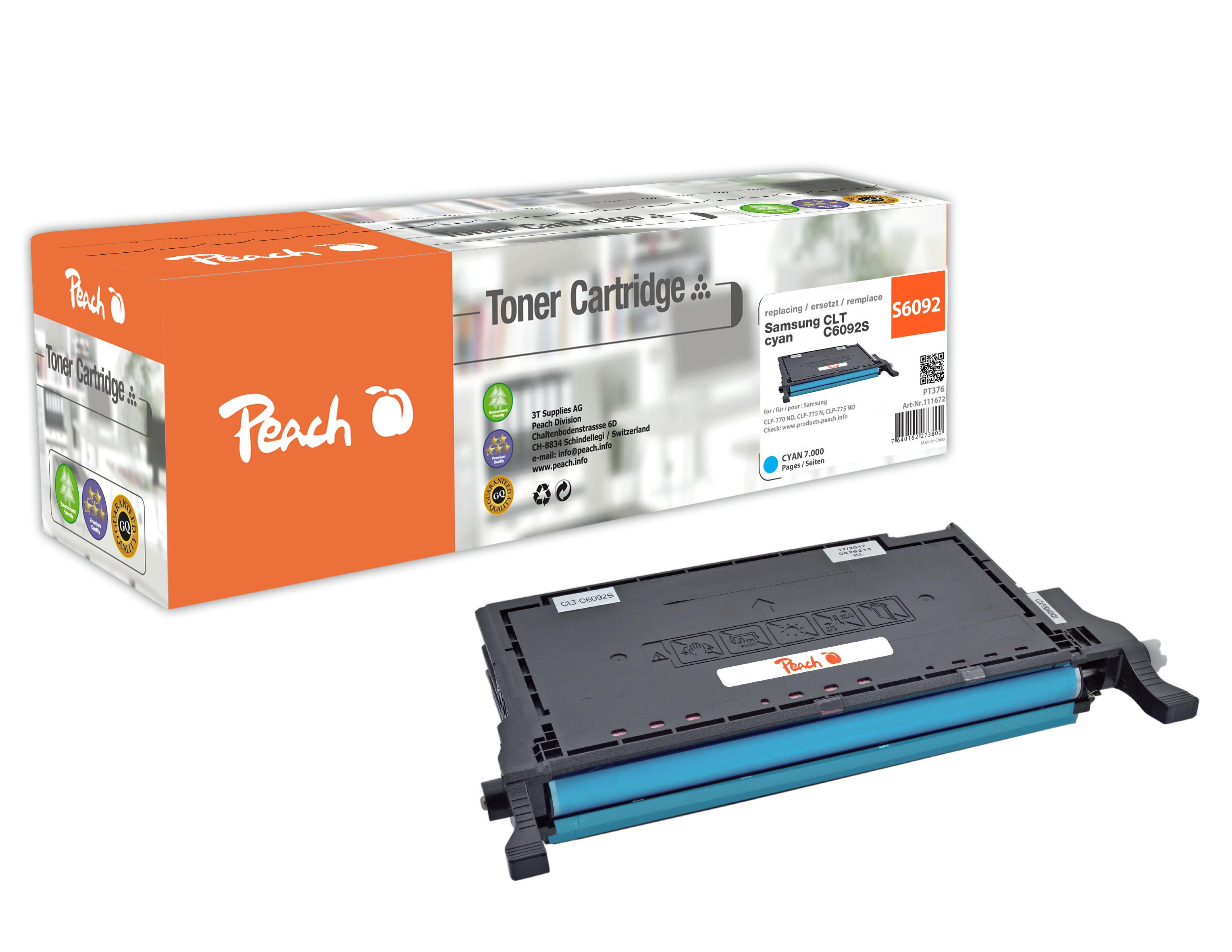 Peach  Tonermodul cyan, kompatibel zu Hersteller-ID: CLT-C6092S Tinte