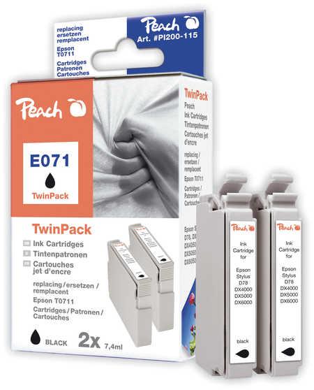 Peach  Doppelpack Tintenpatronen schwarz kompatibel zu Hersteller-ID: T0711 Tinte