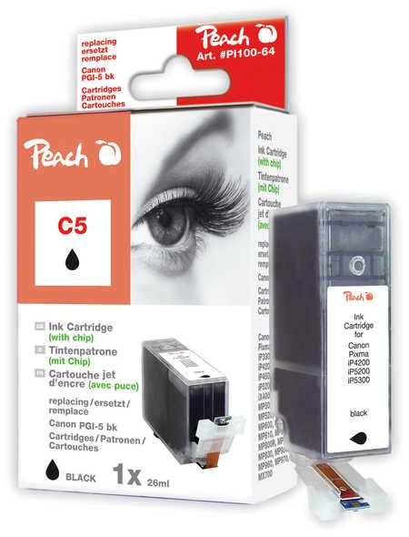 Peach  Tintenpatrone schwarz kompatibel zu Hersteller-ID: PGI-5bk, 0628B001 Toner