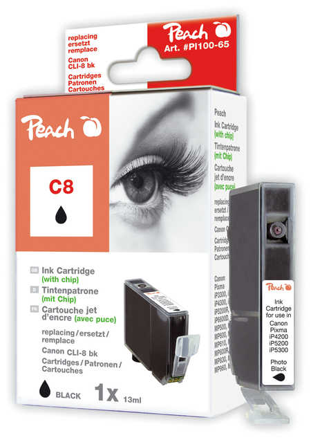 Peach  Tintenpatrone foto schwarz kompatibel zu Hersteller-ID: CLI-8bk, 0620B001 Toner