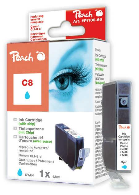 Peach  Tintenpatrone cyan kompatibel zu Hersteller-ID: CLI-8c, 0621B001 Druckerpatronen