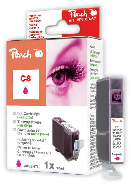 Peach  Tintenpatrone magenta kompatibel zu Hersteller-ID: CLI-8m, 0622B001 Tinte