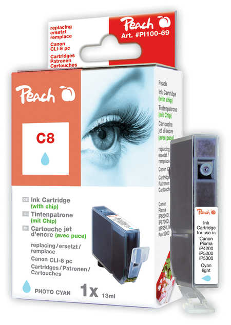 Peach  Tintenpatrone photo cyan kompatibel zu Hersteller-ID: CLI-8pc, 0624B001 Toner