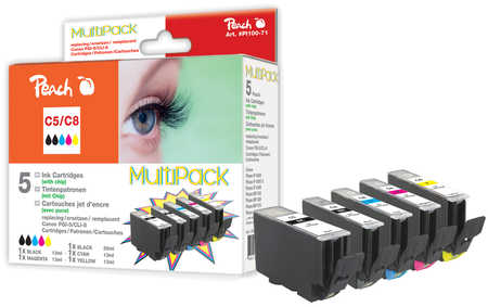 Peach  Spar Pack Tintenpatronen kompatibel zu Hersteller-ID: CLI-8, PGI-5 Druckerpatronen