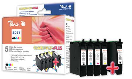Peach  Spar Pack Plus Tintenpatronen kompatibel zu Hersteller-ID: T071 (2xT0711, T0712, T0713, T0714) Tinte