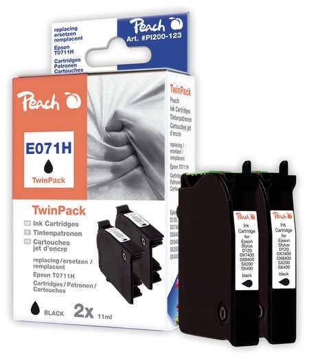 Peach  Doppelpack schwarz kompatibel zu Hersteller-ID: T0711H, C13T07114H10 Tinte