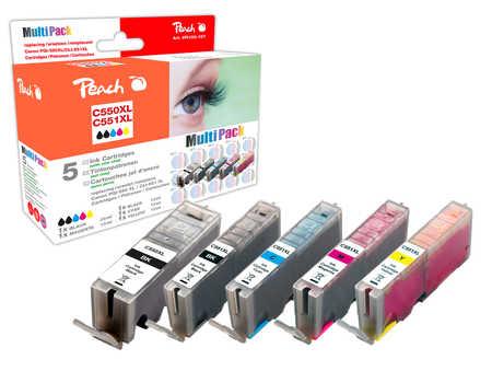 Peach  Spar Pack Tintenpatronen XL-Ergiebigkeit, kompatibel zu Hersteller-ID: PGI-550XL, CLI-551XL Druckerpatronen