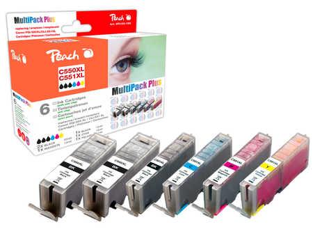 Peach  Spar Pack Plus Tintenpatronen, XL-Ergiebigkeit, kompatibel zu Hersteller-ID: PGI-550XL, CLI-551XL Druckerpatronen
