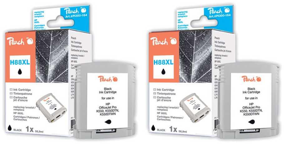 Peach  Doppelpack Tintenpatronen schwarz kompatibel zu Hersteller-ID: No. 88XL, C9396AE Tinte