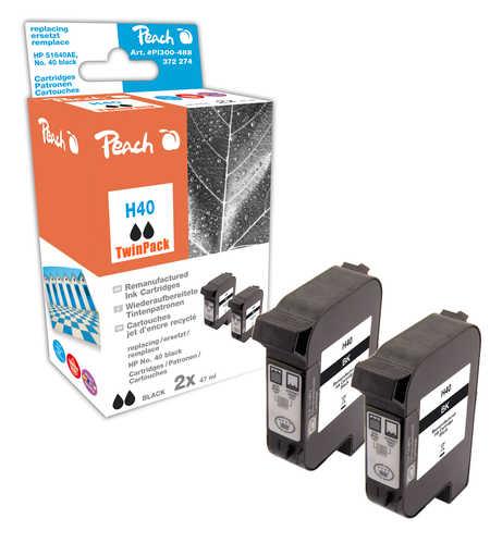 Peach  Doppelpack Druckköpfe schwarz kompatibel zu Hersteller-ID: No. 40, 51640AE Druckerpatronen