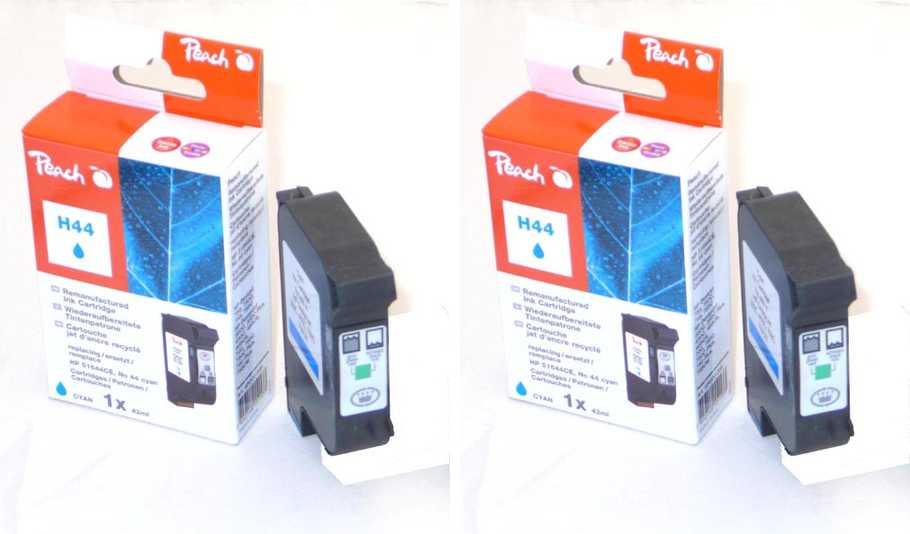 Peach  Doppelpack Druckköpfe cyan kompatibel zu Hersteller-ID: No. 44, 51644CE Tinte