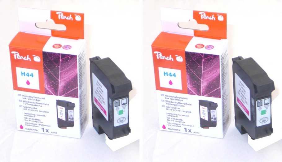 Peach  Doppelpack Druckköpfe magenta kompatibel zu Hersteller-ID: No. 44, 51644ME Tinte