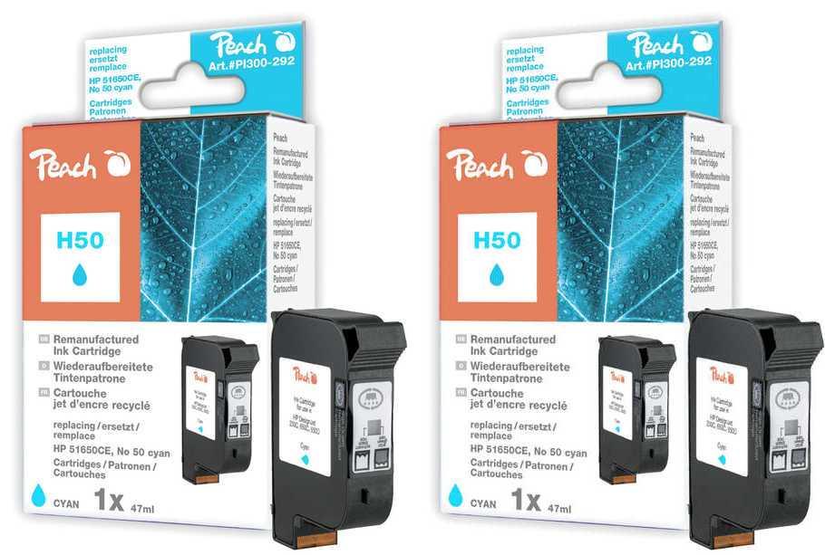 Peach  Doppelpack Druckköpfe cyan kompatibel zu Hersteller-ID: No. 50, 51650CE Tinte