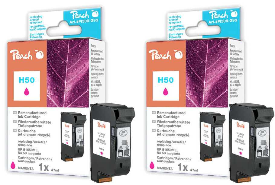 Peach  Doppelpack Druckköpfe magenta kompatibel zu Hersteller-ID: No. 50, 51650ME Tinte