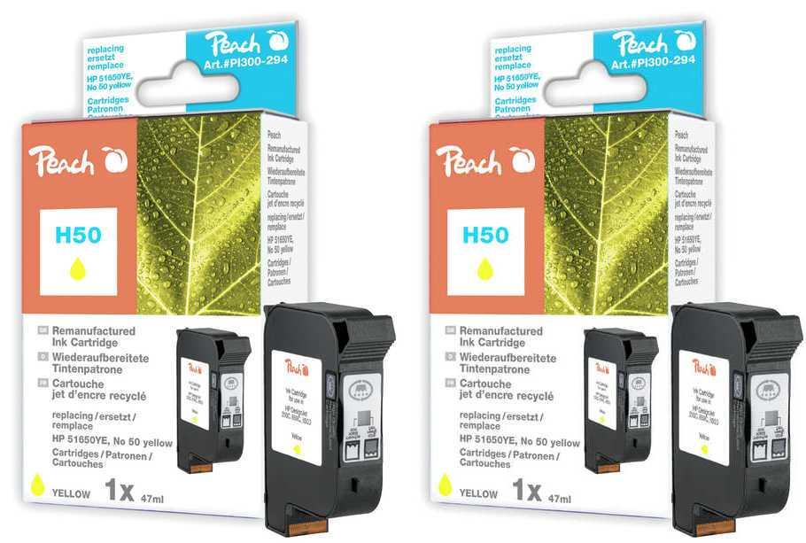 Peach  Doppelpack Druckköpfe gelb kompatibel zu Hersteller-ID: No. 50, 51650YE Druckerpatronen