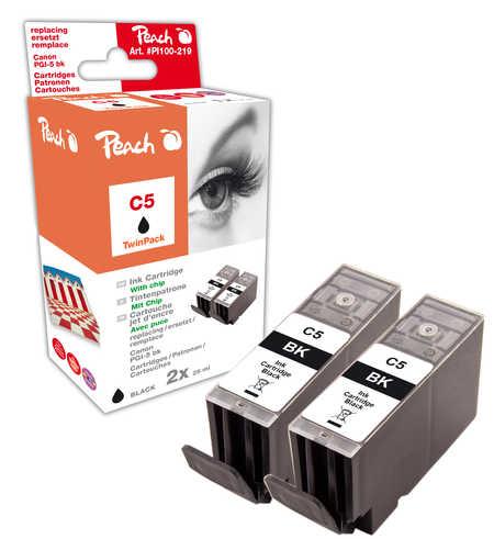 Peach  Doppelpack Tintenpatronen schwarz kompatibel zu Hersteller-ID: PGI-5bk, 0628B001 Tinte