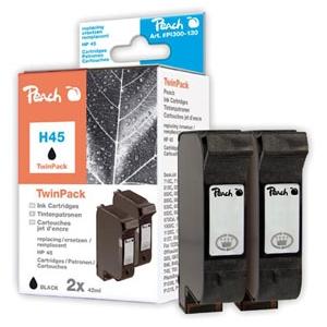 Peach  Doppelpack Druckköpfe schwarz kompatibel zu Hersteller-ID: No. 45, 51645A Druckerpatronen