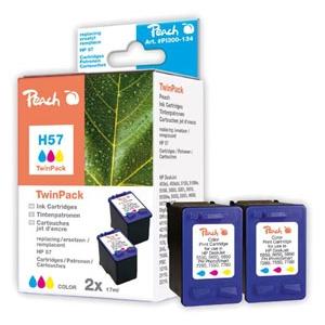 Peach  Doppelpack Druckköpfe color kompatibel zu Hersteller-ID: No. 57, C6657AE Druckerpatronen
