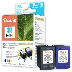 Peach  Spar Pack Druckköpfe Tintenpatronen bk/c kompatibel zu Hersteller-ID: No. 56, C6656AE, No. 57, C6657AE Tinte