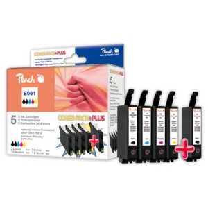 Peach  Spar Pack Plus Tintenpatronen kompatibel zu Hersteller-ID: 2xT0611,T0612,T0613,T0614 Tinte