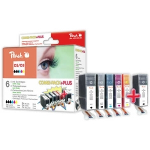 Peach  Spar Pack Plus Tintenpatronen kompatibel zu Hersteller-ID: CLI-8, 2xPGI-5 Toner