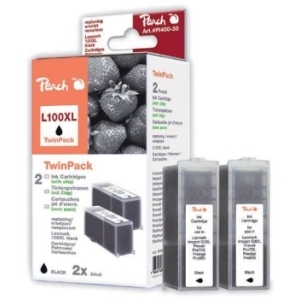 Peach  Doppelpack 2 Tintenpatronen schwarz kompatibel zu Hersteller-ID: No. 100XL, 14N1092 Tinte