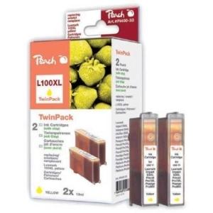 Peach  Doppelpack 2 Tintenpatronen gelb kompatibel zu Hersteller-ID: No. 100XL, 14N1095 Toner
