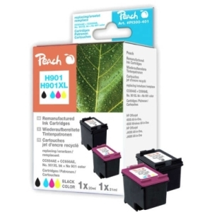 Peach  Spar Pack Druckköpfe kompatibel zu Hersteller-ID: No. 901XL black, CC654AE, No. 901 color, CC656AE Tinte