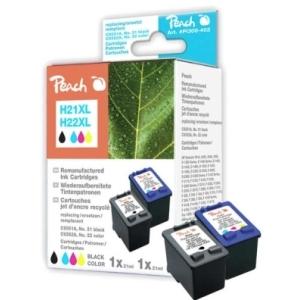 Peach  Spar Pack Druckköpfe kompatibel zu Hersteller-ID: No. 21XL, C9351AE, No. 22XL, C9352AE Tinte
