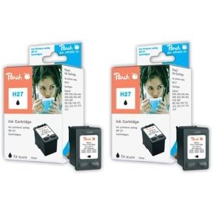 Peach  Doppelpack Druckköpfe schwarz kompatibel zu Hersteller-ID: No. 27, C8727AE Tinte