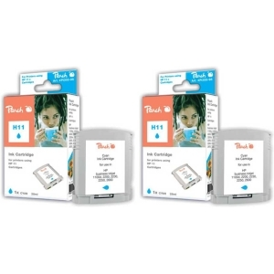 Peach  Doppelpack Tintenpatronen cyan kompatibel zu Hersteller-ID: No. 11 cyan, C4836A Toner