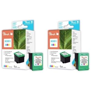 Peach  Doppelpack Druckköpfe color kompatibel zu Hersteller-ID: No. 351, HP CB337EE Tinte