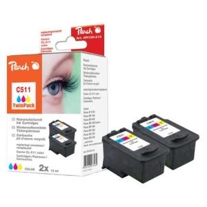 Peach  Doppelpack Druckköpfe color kompatibel zu Hersteller-ID: CL-511 Tinte