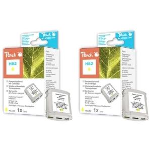 Peach  Doppelpack Tintenpatronen gelb kompatibel zu Hersteller-ID: No. 82, C4913A Druckerpatronen