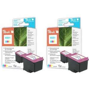 Peach  Doppelpack Druckköpfe color kompatibel zu Hersteller-ID: No. 301, CH562EE Druckerpatronen
