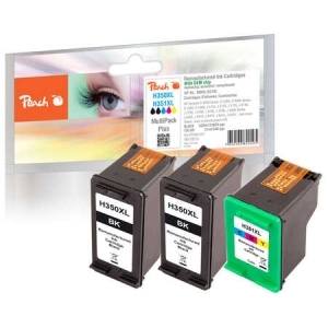Peach  Spar Pack Plus Druckköpfe kompatibel zu Hersteller-ID: No. 350XL black, CB336EE, No. 351XL color, CB338EE Tinte
