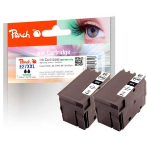 Peach  Doppelpack Tintenpatronen schwarz kompatibel zu Hersteller-ID: No. 27XXL, T2791 Tinte