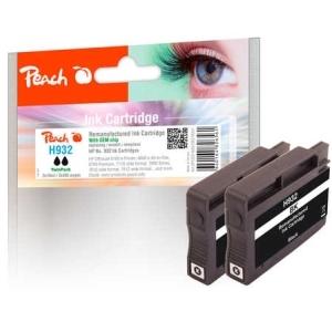 Peach  Doppelpack Tintenpatrone schwarz kompatibel zu Hersteller-ID: No. 932, CN057AE Tinte