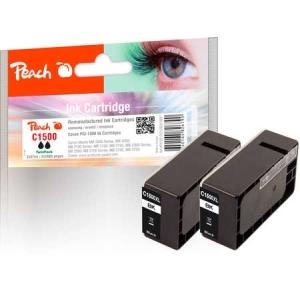 Peach  Doppelpack XL-Tintenpatrone schwarz kompatibel zu Hersteller-ID: PGI-1500XLBK Druckerpatronen