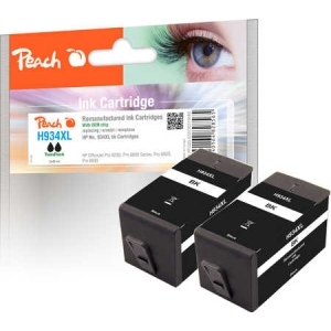 Peach  Doppelpack Tintenpatrone schwarz HC kompatibel zu Hersteller-ID: No. 934XL, C2P23AE Tinte