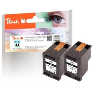 Peach  Doppelpack Druckköpfe schwarz kompatibel zu Hersteller-ID: No. 302, F6U66A Tinte