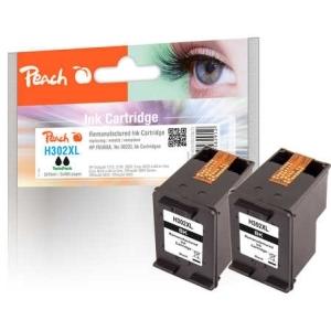Peach  Doppelpack Druckköpfe schwarz kompatibel zu Hersteller-ID: No. 302XL bk, F6U68A Tinte