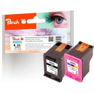 Peach  Spar Pack Druckköpfe kompatibel zu Hersteller-ID: No. 302XL, F6U68A, F6U67A Tinte