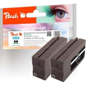 Peach  Doppelpack Tintenpatrone schwarz kompatibel zu Hersteller-ID: No. 950, CN049AE Tinte