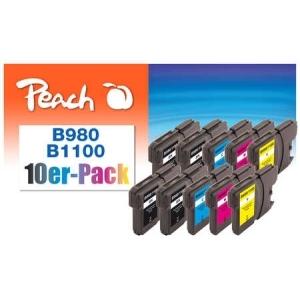 Peach  10er-Pack Tintenpatronen, XL-Füllung, kompatibel zu Hersteller-ID: LC-1100, LC-980 Tinte