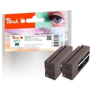 Peach  Doppelpack Tintenpatrone schwarz kompatibel zu Hersteller-ID: No. 711BK, CZ129AE Tinte
