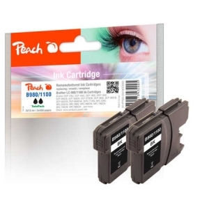 Peach  Doppelpack Tintenpatronen schwarz kompatibel zu Hersteller-ID: LC-980, LC-1100bk*2 Toner