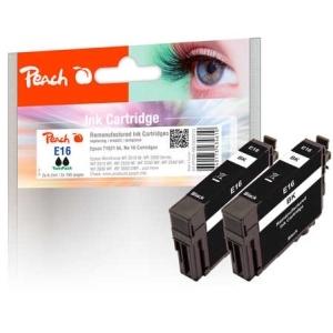 Peach  Doppelpack Tintenpatronen schwarz kompatibel zu Hersteller-ID: No. 16 bk*2, T1621 Druckerpatronen